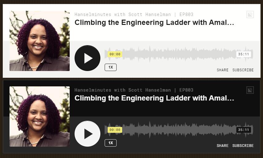 Dark Mode and Light Mode Simplecast Podcast player