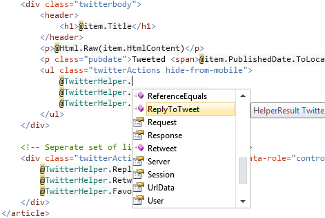 Intellisense in Razor