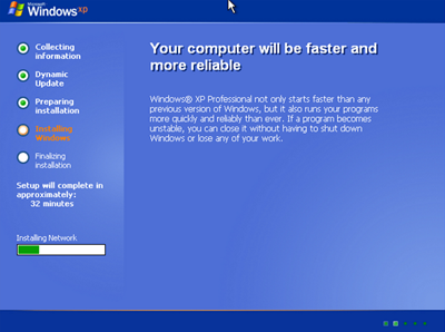 Installing Windows XP to test