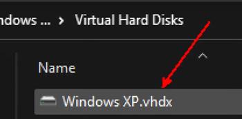 Virtual hard drive from Windows XP