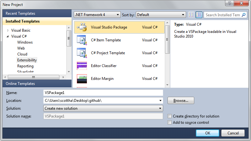 File | New Project | Visual Studio Package