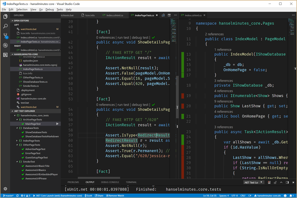 Auto testing, code coverage, line coloring, test explorers, all in VS Code