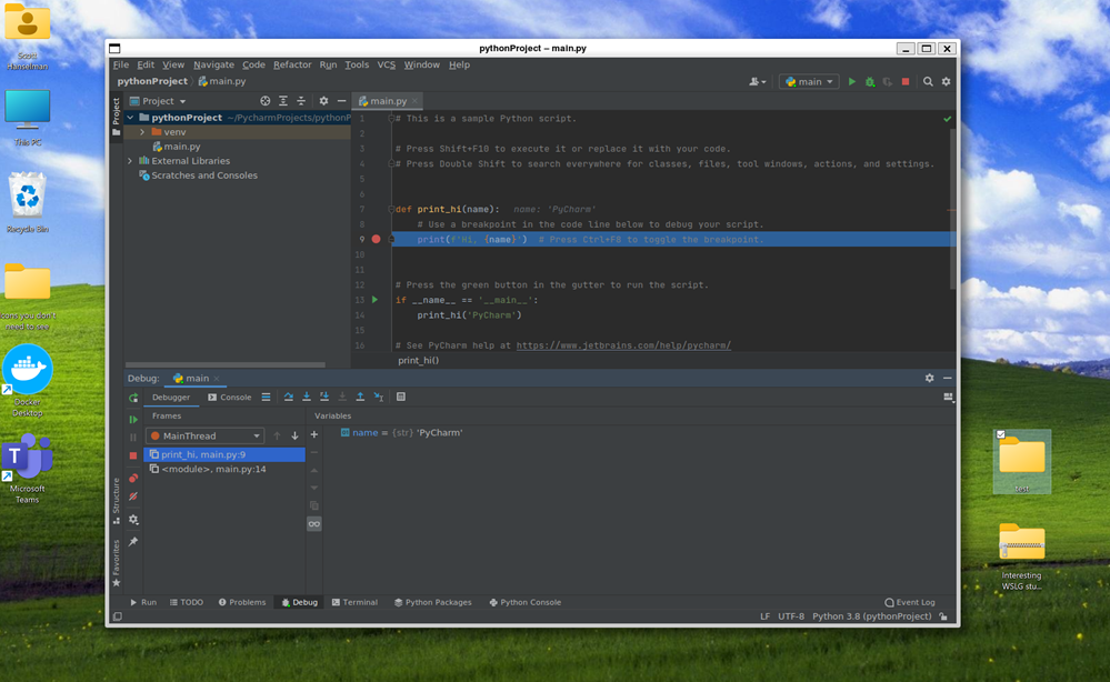 Linux PyCharm on Windows running under Ubuntu 20.04 with WSL and WSLg