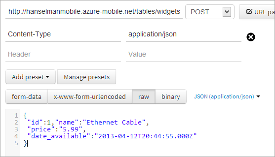 POSTing to an Azure Mobile Service with POSTMAN