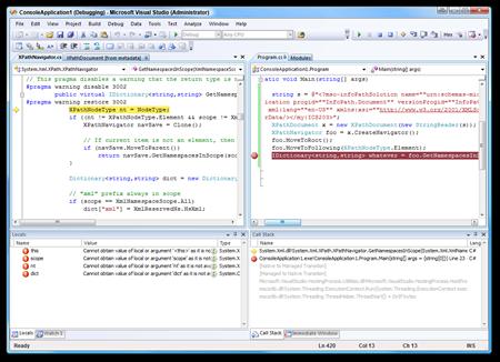 ConsoleApplication1 (Debugging) - Microsoft Visual Studio (Administrator)