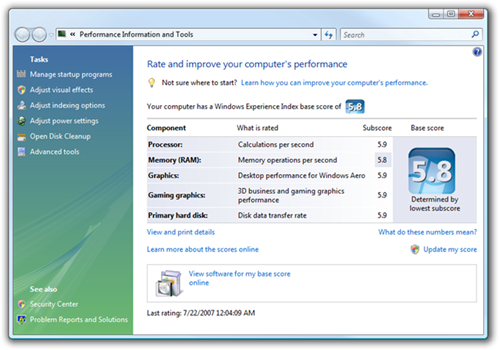 Performance Information and Tools