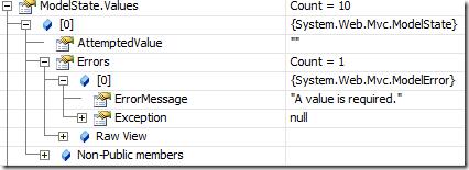 Watch Window showing error in ModelState.Values