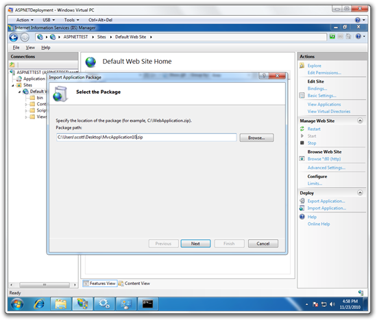 Import Application from inside IIS7 with WebDeploy