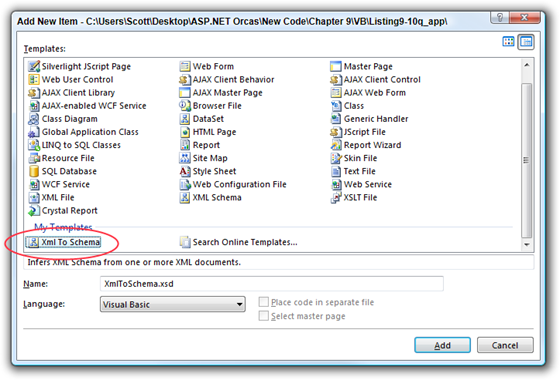 Add New Item - CUsersScottDesktopASP.NET OrcasNew CodeChapter 9VBListing9-10q_app
