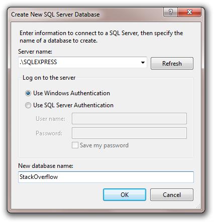 Create New SQL Server Database