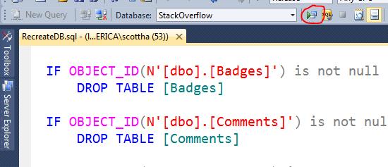 Recreate DB SQL inside of Visual Studio