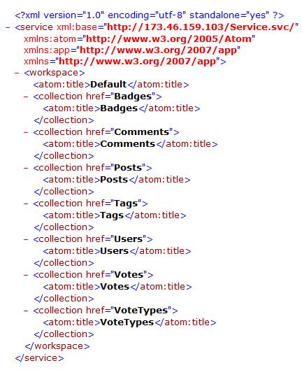Screenshot of an XML document describing an OData service endpoint