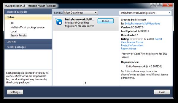 Entity Framework SQL Migrations In NuGet