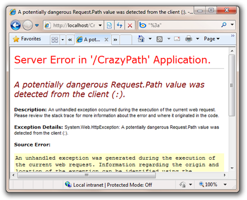 A potentially dangerous Request.Path value was detected from the client (). - Windows Internet Explorer