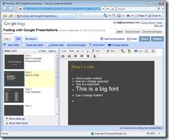 Fooling with Google Presentations - Windows Internet Explorer