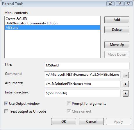 Adding MSBuild to External Tools