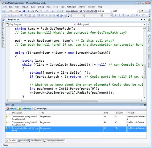 UseMscorlibContracts - Microsoft Visual Studio