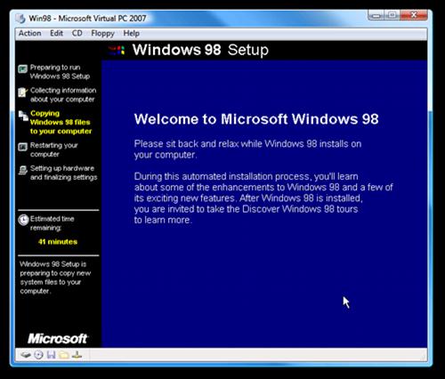 Win98 - Microsoft Virtual PC 2007