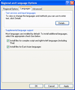 Regional and Language Options