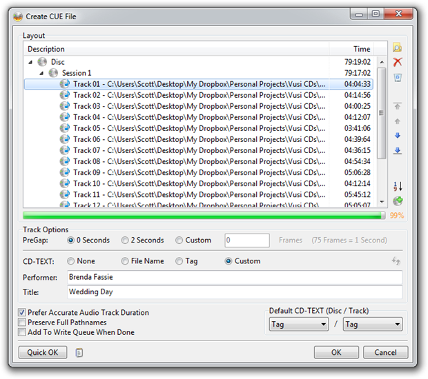 Create CUE File for CD-Text in ImgBurn