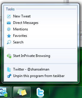 Image of Twitter as a pinned app with a jumplist showing common actions
