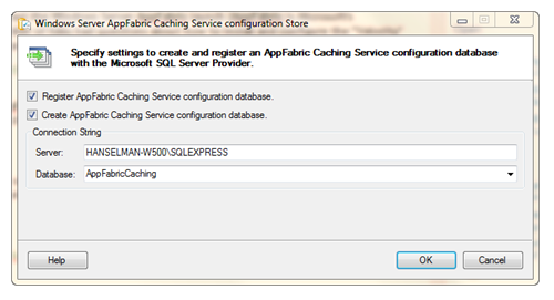 Windows Server AppFabric Caching Service configuration Store
