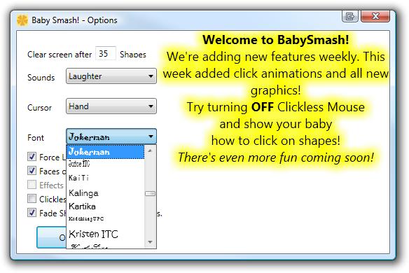 Baby Smash! - Options