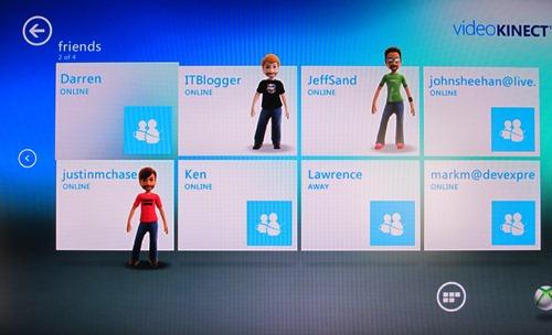 Video Kinect Friends List