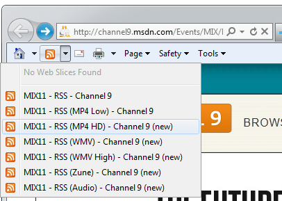 Hey, the Mix Site has RSS feeds in its Meta Tags!