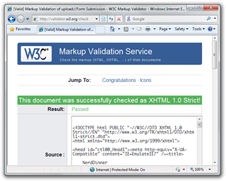 [Valid] Markup Validation of uploadForm Submission - W3C Markup Validator - Windows Internet Explorer