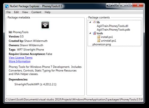 NuGet Package Explorer - PhoneyTools.0.5 (11)