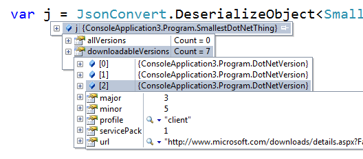 The JSON has deserialized into C# objects in a Watch Window