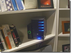 Photo of my Home Server on a shelf in my office
