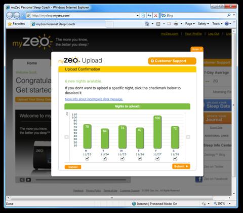 myZeo Personal Sleep Coach - Windows Internet Explorer