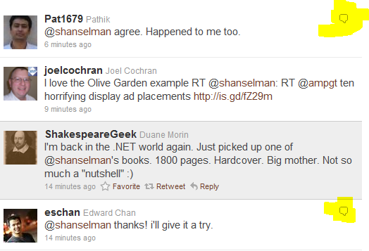 Replies as shown in New Twitter