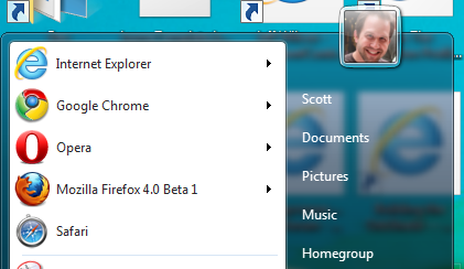 Five major browsers shown in the Windows Start Menu