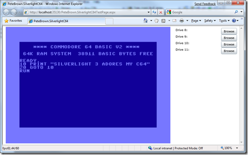 Silverlight C64 Emulator