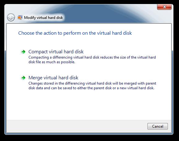 Modify virtual hard disk - Merge