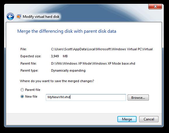 Modify virtual hard disk