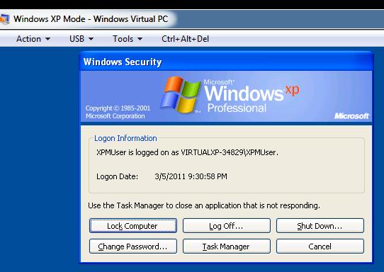Shutting down Windows XP Mode