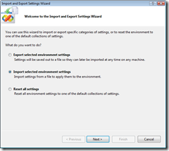 Import and Export Settings Wizard