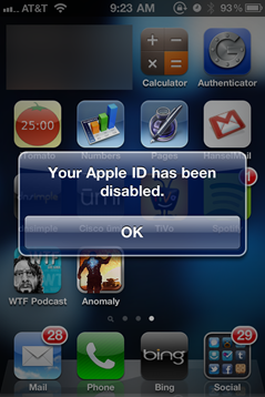 Your Apple ID has been disabled. Evil.