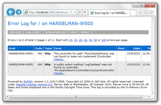 Error log for  on HANSELMAN-W500 (Page #1) - Windows Internet Explorer