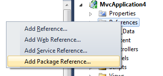 Add Package Reference in the Solution Explorer