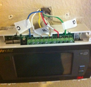 Installing the Filtrete Thermostat, wires exposed
