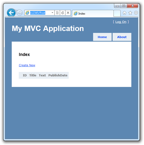 A super basic MVC page with Create New on it.