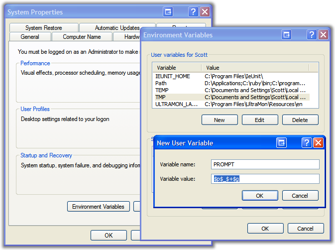 A screenshot of the System Properties Dialogs
